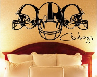3 Helmet Football Vinyl Wall Decal
