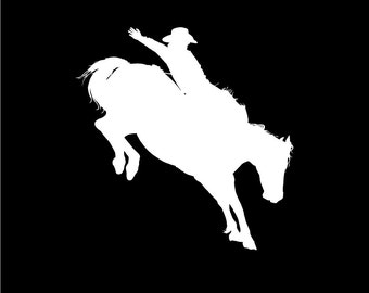 Cowboy Bronco Rider Car Decal or Laptop Decal Western Rodeo