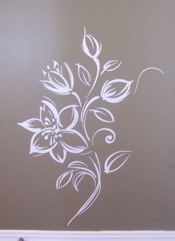 Flower Vinyl wall art  wall mural painted effect