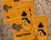 SNOWMAN And TURKEY Happy Holidays THANKSGIVING Digital Download Iron On Transfer Gift Tag Burlap Design Tote Bag No 175
