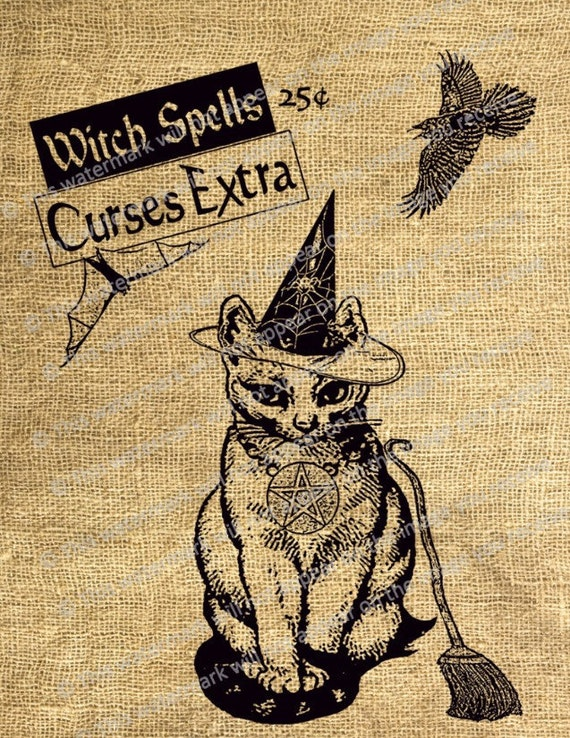 Items Similar To Antique Halloween Art Print Cat Witch