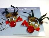 Christmas Hair Bow Clips Rudolph the Rhinestoned Reindeer Sculpted Hair Bow