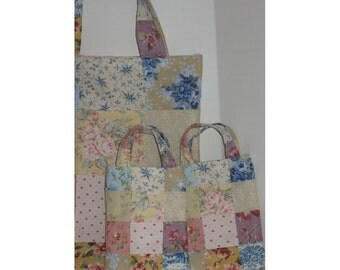 Down the Garden Path Mother and Daughters Floral Patchwork Totes