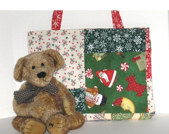 Kid's Korner-- Santa Is Coming Patchwork Bag - 50% of sale is donated to Project Linus