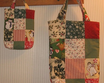 Tis The Season Mother/Daughter Patchwork Totes