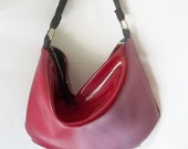 Hobo bag - Cherry Red faux leather handbag - Handmade hobo purse