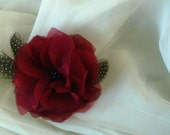 Bridal Red Silk Charmeuse and Organza Peony Flower Fascinator