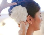 Bridal Flower Head Piece, Peony, Ivory Silk Chiffon, Fluffy Flower Hair Piece