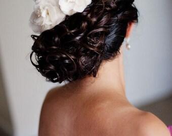 Bridal Silk Flower Hair Piece Duo in Silk Chiffon and Silk Organza and Stamens, Peony Flower, Flower Brooch, Embellishments