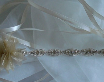 Bridal Rhinestone Belt, Bridal Sash, Ribbon Sash, Gold, Rhinestone, Headband, Prom