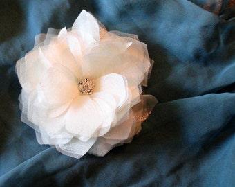 Bridal Hair Piece with Rhinestone Centerpiece
