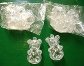 Vintage Pair of Very Small Clear Plastic Hollow Bears  - NEW