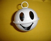 White Smiling Happy Face Metal Bell 65 mm- New