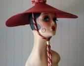 Vintage Red Fun in the Sun Peak Style Large Brim Hat