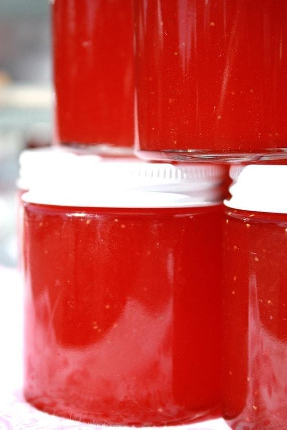 Jam favor, party favor, 12 of our 4 oz glass jars of Strawberry pineapple jam , shower favor