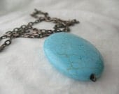 Huge Turquoise Magnesite on Long Antiqued Copper Chain