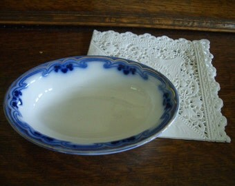 Grindley Olympic Idris -Antique Flow Blue Small oval bowl