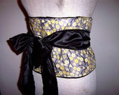 japanese obi influenced floral print belt