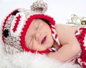 Sock Monkey Earflap Hat - Great Photography Prop - (Beige, Cream and Red) You choose the size (newborn to 3 yrs)