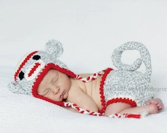 Newborn Sock Monkey Eaflap Hat and Matching Monkey Diaper Cover - Photography Prop (Grey, Cream and Red)