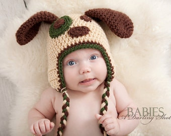 Toddler, Child Puppy Dog Earflap Hat - Great Photography Prop - (Beige, Brown and Green)