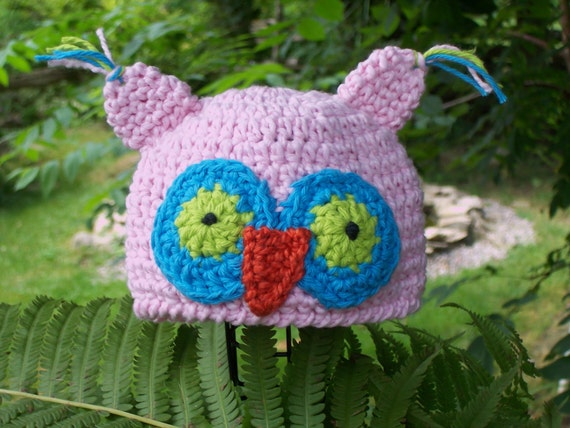 Newborn Hooty Owl Beanie - Great Photography Prop (Pink, Aqua Blue and Lime Green) - Ready to Ship