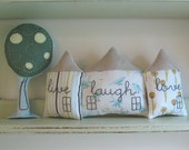live laugh love - set of 3 fabric houses