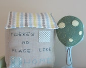 Linen Fabric House - There's No Place Like Home in blue and gray