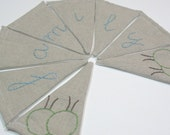 Family -Small Linen and Fabric Banner in Blue