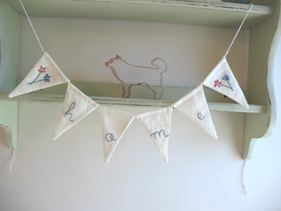 Small Home Linen Garland in Blue