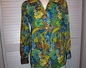 RESERVED for Robyn at tippitie   Wildly 70s Vintage Women Mod Silky Nylon WILD PRINT  Blouse Shirt Top Size12 14