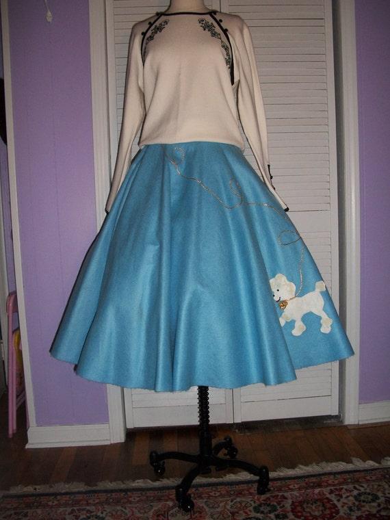 Vtg 1980s in a  50s Style BE BOP Sky Blue Poodle Skirt Full Swing Skirt
