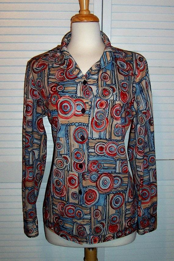 Vintage 70s Women Mod Silky Poly Knit Shirt Blouse Size 14 16