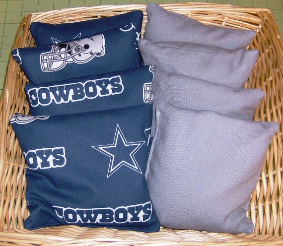 8 PC Corn Hole Game Bags 4 Dallas Cowboys Cotton Print  with 4 Gray Duck Cloth Game Bags