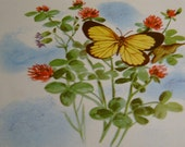 vintage book plate butterfly