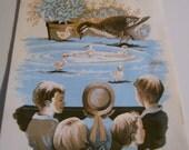vintage illustration  children and baby ducks