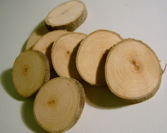 30 Tree Branch Circle Blanks Wooden Wedding Slices 1 inch