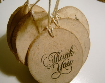 100 Rustic Wooden Thank You Hang Tags from branch slices