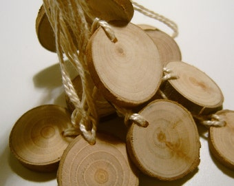 150 Small Hang Tag Blank Unfinished   Tree Branch Slice 1  to 1.25 inch