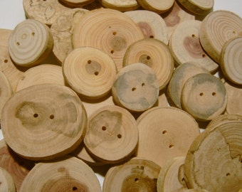 25 Handmade Wooden Buttons 1 to 2 inch Raw Wood