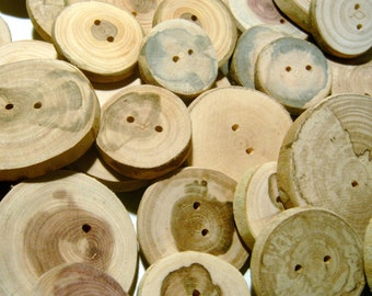 40 Handmade Wooden Buttons 1 to 2 inch Raw Wood