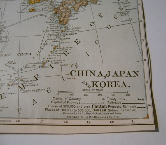 Antique Map China Japan Korea