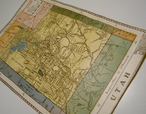 Antique Map Utah