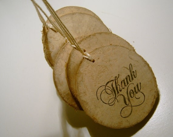 5 Rustic Wooden Round Thank You Hang Tags from branch slices