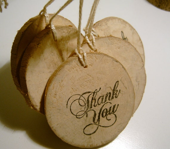 20 Rustic Wooden Thank You Hang Tags from branch slices