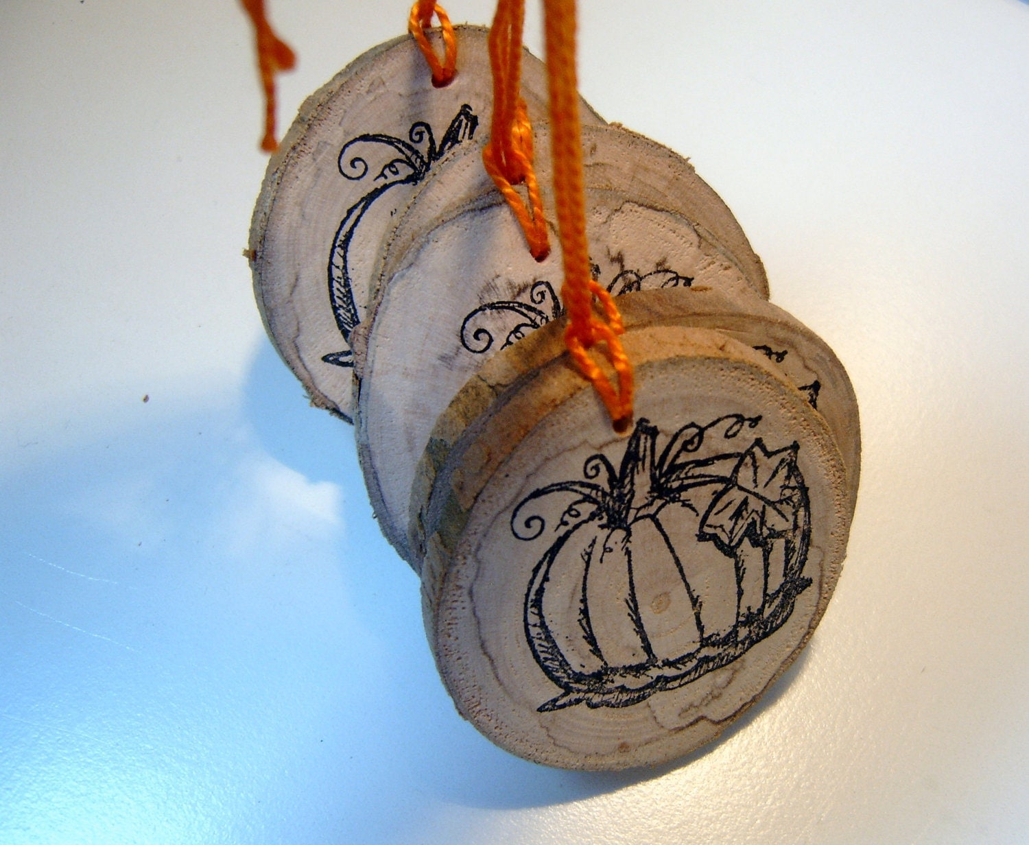 Wedding Gift Ornaments: 5 Round Wooden Pumpkin Wedding Favor HangTag Ornaments Party