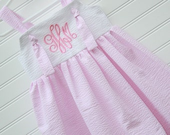 The Emma...Girls Monogrammed Dress, Knot Dress...Size 3, 6, 9, 12 months, 1, 2, 3, 4, 5...by The Laughing Giraffe