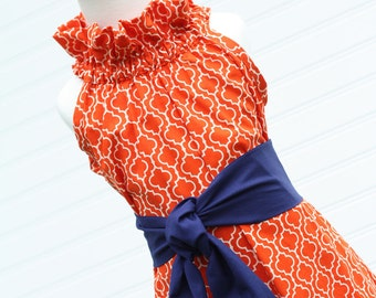 Tangerine Delight...Girl's Ruffler Dress with Removable Sash, 3mo., 6 mo., 9 mo.,12 mo., 1, 2, 3, 4, 5T