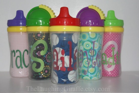 My Stylish Sippy Cup - Customized Monogrammed Sippy or Straw Cup Personalized Embroidered
