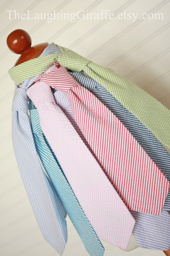 Seersucker Small Guy Easter Tie...Boys Seersucker Tie...Size 0-6, 6-12, 12-24 months, 1-3, 4-6, 7-10...by The Laughing Giraffe